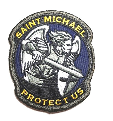 Saint Michael Modern Morale Patch Tactical Military Army Embroidered Sew on Tags Operator Patches with Hook and Loop Fasteners Backing-Multitan (Blue)