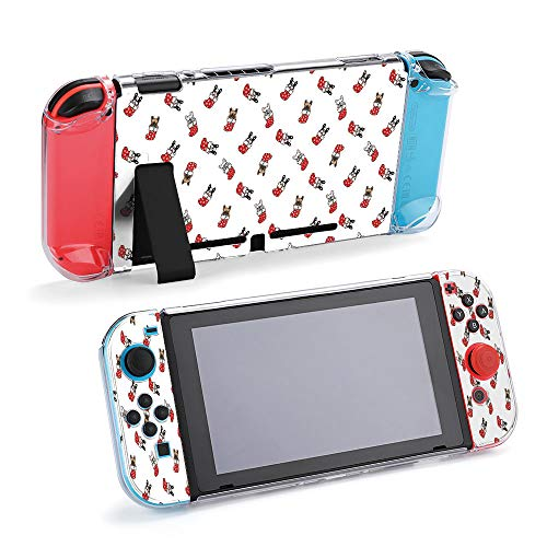 SUPNON Carry Case Compatible with Nintendo Switch, Ultra Slim Hard Shell, Protective Carrying Case for Travel - French Bulldog Christmas Socks Santa Claus Design32678