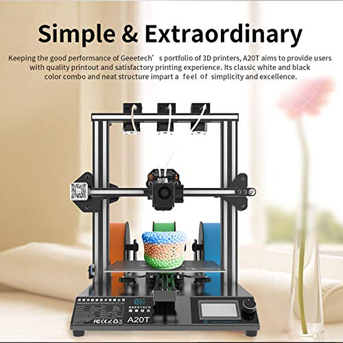 3D Printer,Benkeg A20T 3D Printer Fast Assembly 3-in-1 Out Mix-Color Printing with GT2560 Control Board High Precision Support Resume Printing Filament Detection 250 * 250 * 250mm Build Volume