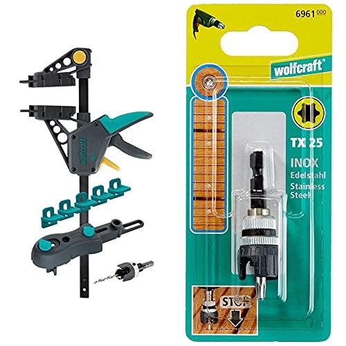 Wolfcraft 6988000 Kit de Pose de Terrasse en Bois - 10 pièces & 6961000 porte-embout à butée + embout