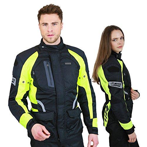 Motorradjacke -Spark- Sommer Winter Motorrad Roller Jacke Protektorenjacke Textil HerrenWasserdicht mitProtektoren - Schwarz-Neon-Grün-Gelb - M