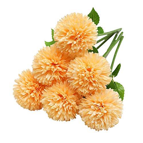Tifuly Flores de Hortensia Artificial, 6 Piezas de crisantemo de Seda pequeña Bola de Flores para la decoración de la Oficina del jardín del hogar, Ramos de Novia, arreglos Florales(Naranja)