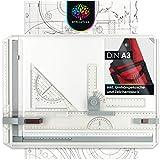 OfficeTree Mesa Dibujo Tecnico A3 - Tablero de Dibujo 37 x 50 cm - Paralex Tablero 7 Piezas un Trabajo Exacto - Bolsa de Transporte y Diversos Accesorios