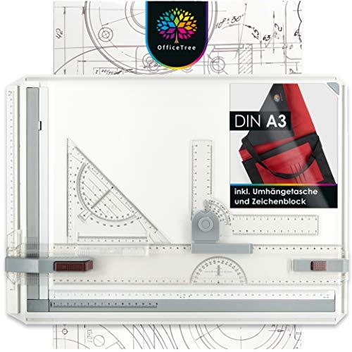 OfficeTree Zeichenplatte A3 - Inkl. Tragetasche, Schiebelineal, Geodreieck UVM. - Zeichenbrett A3 für exaktes Arbeiten - DIN A3 Zeichenplatte