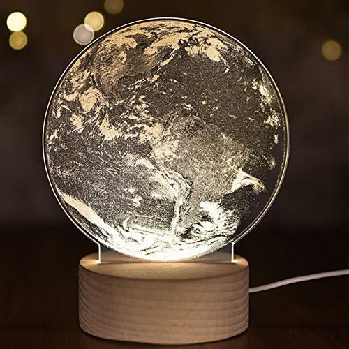Lámpara de mesa de noche 3D con diseño de luna, luz de noche, luz LED para dormir, decoración del hogar (color: blanco cálido, color emisor: unicornio).