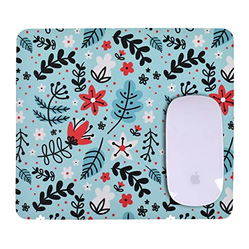 Unique Rectangle Mouse Pad with Non Slip Rubber Base, Comfortable Computer Mouse Pad for Laptop, Pain Relief Mousepad for Office & Home, 8 x 7 inches (Flower Art)