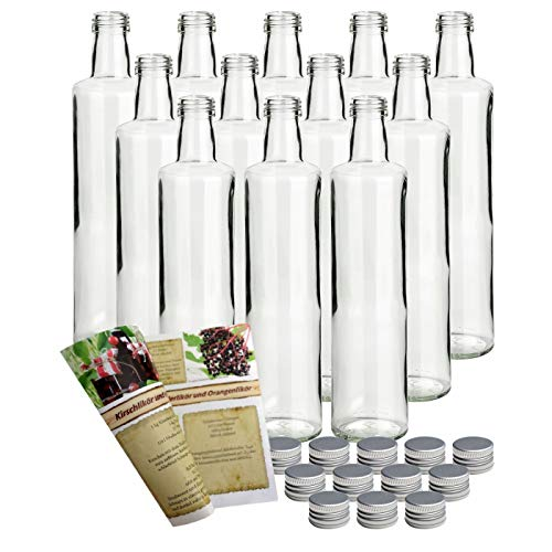 gouveo 12er Set Flasche Dora Lichtgrün 500 ml inkl. Schraubverschluss Silber, Likörflaschen, Schnapsflaschen, Essigflaschen, Ölflaschen