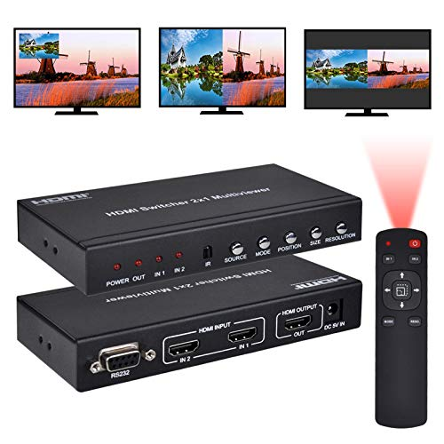 Iseebiz HDMI 2X1 MultiViewer, 1080P 2 in 1 Out HDMI Screen Splitter Seamless Switch with PIP Mode, Support Cascading with IR Remote RS232 for Gaming, IT Business, Video Meeting, Surveillance, etc.