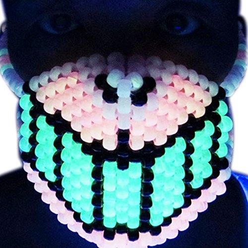 Kandi Gear - Glow in The Dark Cheshire Grin Cat Kandi Bead Mask, Rave Wear
