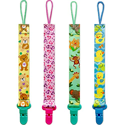 Baby Pacifier Clips for Boys and Girls, 4 Pack BPA Free Pacifiers Holders Leashes for Teether Toy or Soothie, Fits All Pacifiers Baby Teething Toys, Baby Shower Gift Set