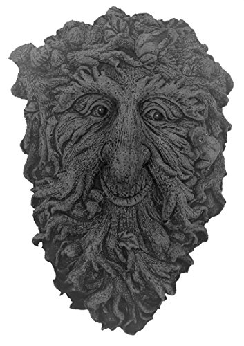 Heavy Wall Plaque of a Green Man with Frogs in Hair - Hang on a STRONG nail in fence or wall Stone Garden Ornament. Hand Mixed,Cast, Coloured and Finishedby Bekki. 16 x 6 x 25 cms, 1.75 kilos