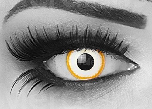 MeralenS ein Paar farbige gelbe weiße Crazy Fun Alien Jahres Kontaktlinsen. Ideal zu Halloween, Karneval, Fasching oder Fasnacht mit gratis Kontaktlinsenbehälter ohne Stärke!