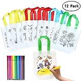 Yuccer Kinder Stoffbeutel Set, 12 PCS Tasche Zum Bemalen mit 12 Stück Graffiti Stifte Basteln Kindergeburtstag Watercolor Brush Pen