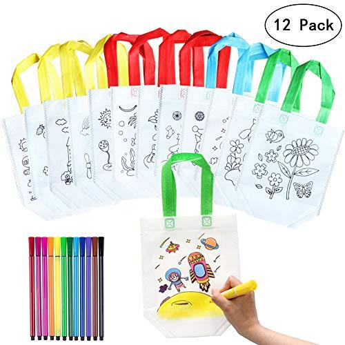 Yuccer Kinder Stoffbeutel Set, 12 PCS Tasche Zum Bemalen mit 24 Stück Graffiti Stifte Basteln Kindergeburtstag Watercolor Brush Pen