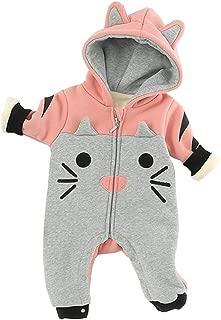 Xifamniy Infant Babies Romper Cartoon Pattern Plus Velvet Hooded Long Sleeve Jumpsuit