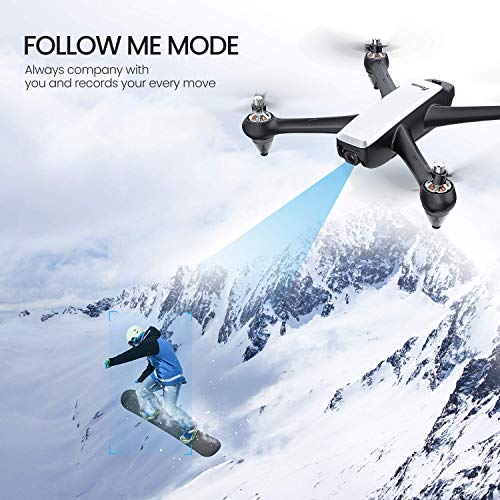 Potensic D60, GPS Drone with Camera for adults, 1080P HD FPV 110° FOV Quadcopter, 5G WiFi, Follow Me, Altitude Hold, Auto Return Home, Upgrade Brushless Motor-White