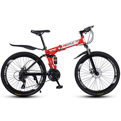 ZTYD 26 Inch 27-Speed Mountain Bike for Adult, Lightweight Aluminum Full Suspension Frame, Suspension Fork, Disc Brake,Red,B