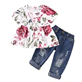 NZRVAWS Infant Girl Clothes Ruffle Flower Short Sleeve T-Shirt Tops + Ripped Jeans Denim Pants Toddler Outfits Set for Summer 2PCS