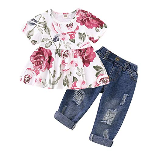 NZRVAWS Toddler Baby Girl Clothes for Summer Infant Ruffle Short Sleeve Floral T-Shirt Tops+ Denim Pants 2PCS Ripped Jeans Outfits Sets 3-4T