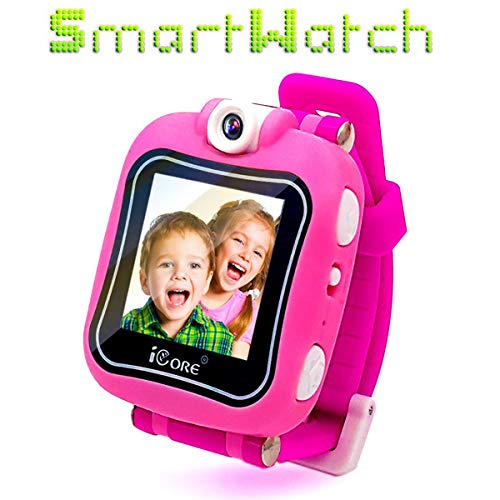 iCore Kids Watch, Durable Smart Watch for Kids, Game Pink Camera Smartwatch, Digital Touch Screen Kid Watches with Alarm Clock Stopwatch, Toys Video Games Girls Boys