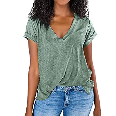 Amazon - 20% Off on  Womens V Neck T Shirts Slit Summer Short Sleeve Casual Loose Tunic Tops