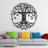 wZUN Mandala Redondo árbol Pared calcomanía árbol de la Vida Vinilo Pegatina Yoga Studio meditación decoración Mural 57X57cm