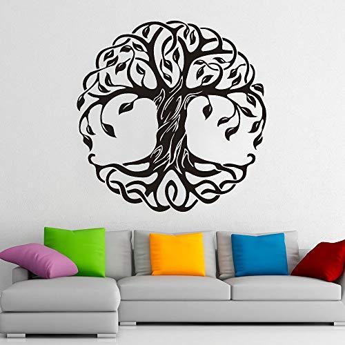 HFDHFH Planta Flor árbol Redondo Tatuajes de Pared árbol de la Vida Arte Puertas y Ventanas Pegatinas de Vinilo Estudio de Yoga meditación decoración de Interiores Mural