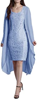 Howely Women Solid Color Lace Tulle Flowers 2 Piece Fashion Dresses