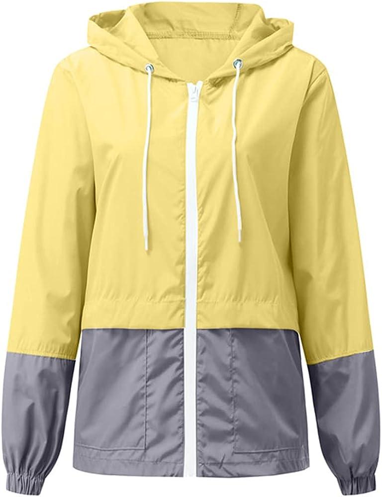 Women Rain Loose Zippered Hoodies Tracksuit Windbreaker Raincoat