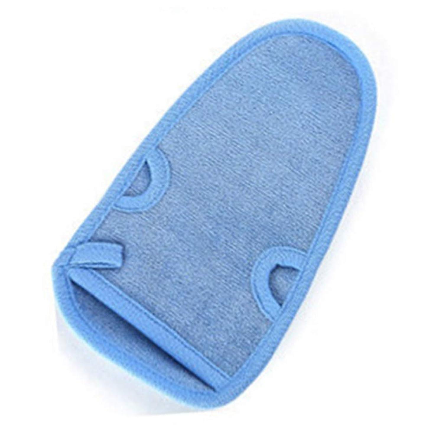 暴力的なアクロバットデジタル手袋角質除去ユニセックスミトン削除デッドスキンバススクラブスクラブミットボディシャワーディープエクスフォリエーション(ブルー)