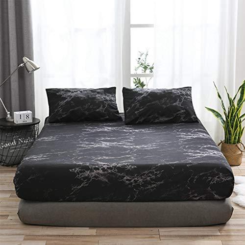 Emoshayoga Suministros de Cama de la Cubierta del colchón del Modelo veteado cómodo de la Hoja para el Dormitorio(Marble-Black)