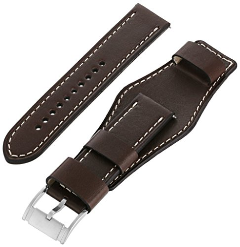 Fossil Unisex 22mm Leather Interchangeable Watch Band Strap, Color: Dark Brown Cuff (Model: S221240)