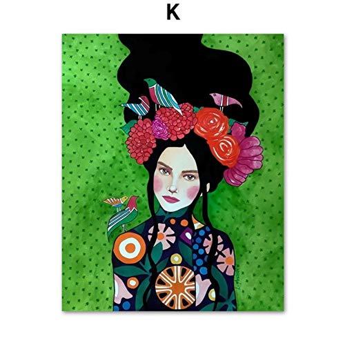 Moderno pintura al óleo moda Vintage mujer maquillaje belleza peluquería modelo arte...