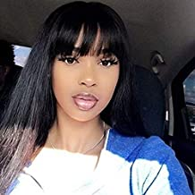 JNM Soft Hair 13×4 Lace Front Human Hair Wigs With Bangs For Black Women Remy Brazilian Human Hair Lace Front Wig Pre Plucked Bang (16Inch, 13×4 lace-Natural black)