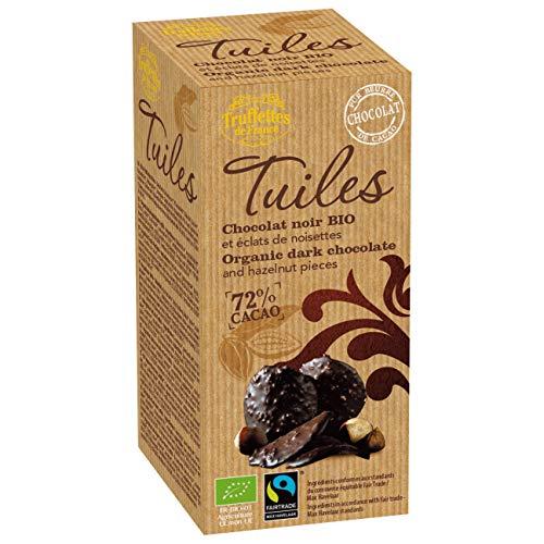 Piastrelle di cioccolato fondente biologiche con scaglie di nocciole croccanti - 100g