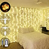 Curtain Lights, Wastou 300 LEDs 9.8Ft Waterproof String Lights, 8 Modes by Remote-Control Dimmer Timer USB Twinkle Lights for Wedding, Party, Indoor Bedroom, Christmas, Outdoor Patio, Backyard Decor
