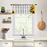 Kitchen Window Treatment Valances,Decorative Curtains,for Bathroom,Living Room and Dining Room Decoration,Curtain Hanging Cloth,52X18 Inches,Sunflower White