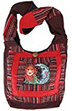Guru-Shop Schultertasche, Hippie Tasche, Goa Schulterbeutel mit Sonne, Mond - Rot, Herren/Damen, Baumwolle, Size:One Size, 30x30x8 cm, Bunter Stoffbeutel
