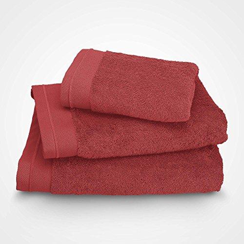 BLANC CERISE Serviette de Toilette - Coton peigné 600 g/m² - Rouge Basque 100x150 cm