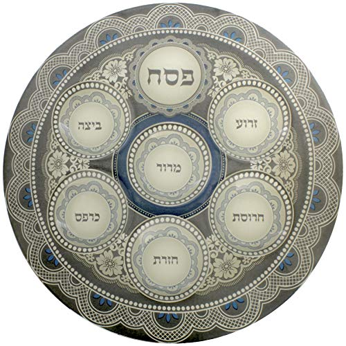 Art Judaica Glass Seder Plate for Passover with Floral Design, 40cm