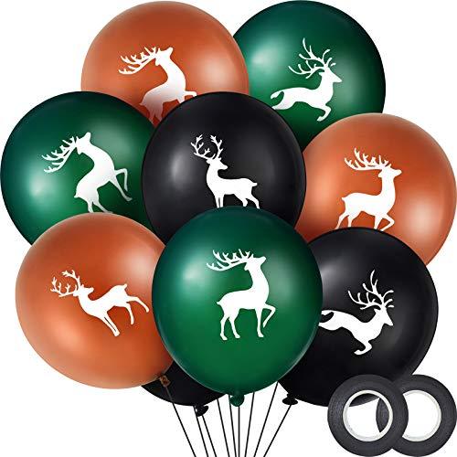Elk Buck Deer Party Balloons Set, Includes 48 Pieces Woodland Latex Deer Balloon and 2 Rolls Black Band for Deer Party Favor Supplies Decoration Lumberjack Camo