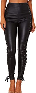 MUSEWISH PU Leather Denim Pants for Women Sexy Tight Stretchy High Waisted Leggings Black