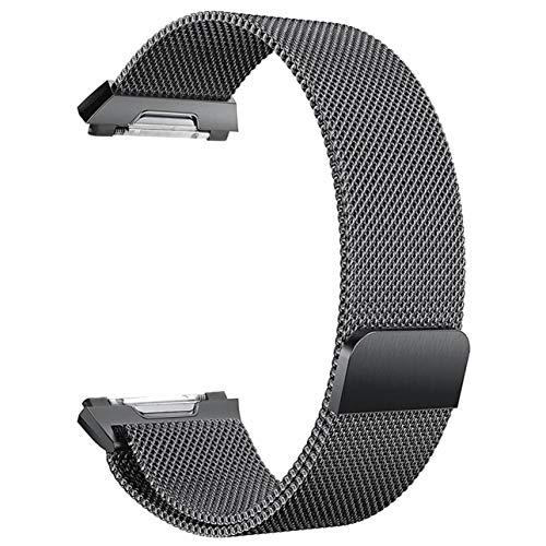 COMEYOU Großes Ersatz-Magnetschlaufenband aus Edelstahl, schwarz für Fitbit Ionic-Bänder