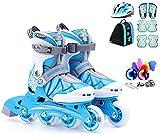Xiaokang Patines en línea, Patines de Velocidad para niños, Juego Completo de Patines, Patines Ajustables (3 Colores),B,L