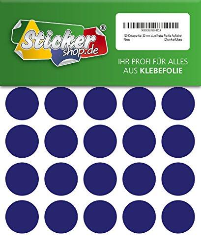 120 Klebepunkte, 30 mm, dunkelblau, aus PVC Folie, wetterfest, Markierungspunkte Kreise Punkte Aufkleber
