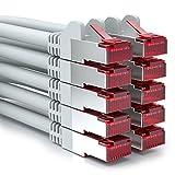 deleyCON 10x 0,25m Cavo Patch CAT6 PIMF S/FTP Schermatura CAT-6 RJ45 Cavo di Rete Cavo Ethernet LAN DSL Interruttore Router Modem Punto di Accesso - Grigio