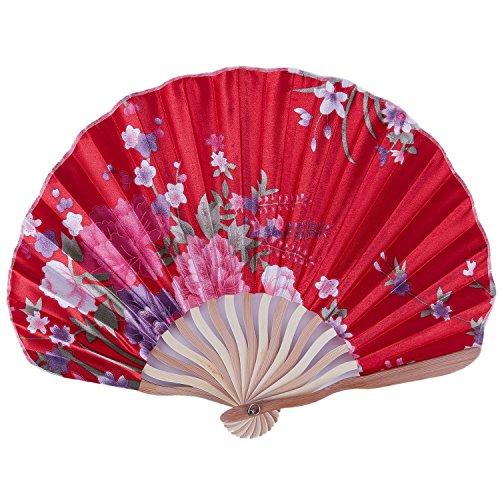 SODIAL Abanico de Mano para Mujer Plegable portatil Estampado una Flor un Regalo de Arte