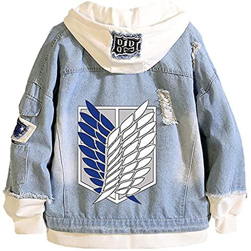 Attack on Titan Jeans Jacket Scout Regiment Cosplay Denim Coat Eren Jaeger Hooded Sweatshirt Coat Men Trucker Jacket