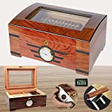 COMMODA Desktop Cigar Humidor Tempered Glasstop with Front Mounted Hygrometer Humidifier Storage box wooden Tray...