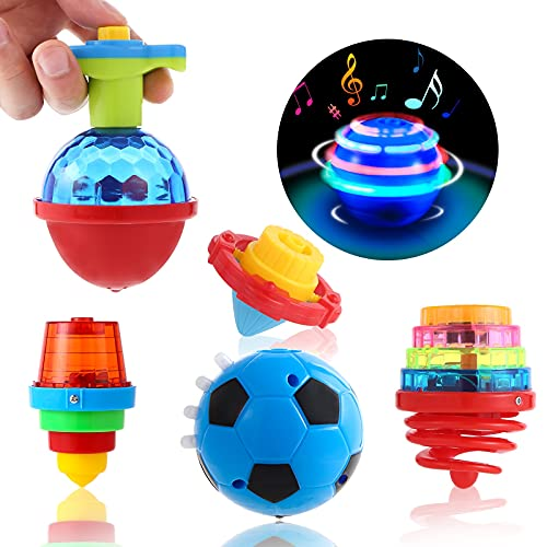Kavkabox 10 Pack Light Up Spining Top Toy LED Flashing Tops for Kids Party Favors , Music UFO Novelty Top Spinner Toy for Goodie Bag Fillers, Birthday Halloween Christmas Party Favors
